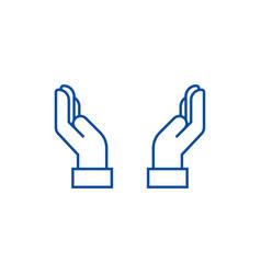 safe hands line icon concept safe hands flat vector image