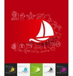 sailboat paper sticker with hand drawn elements vector image