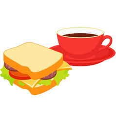 sandwich with a red cup of hot tea vector image