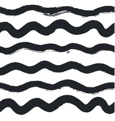 seamless waves hand writing pattern in ink on vector image