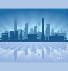 Seoul south korea city skyline silhouette vector