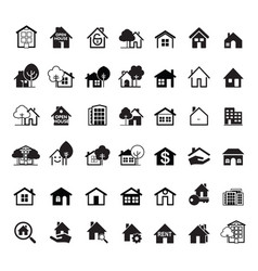 set black house icon real estate outline vector image