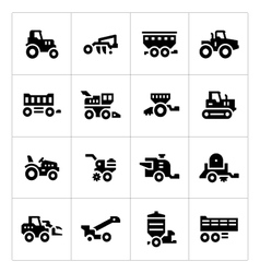 Set icons agricultural machinery vector