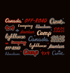 set lettering for sticker and t-shirt vector image