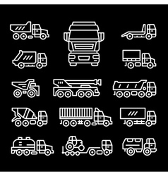 Set line icons of trucks vector image