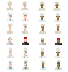 Set of chefs in different uniforms of different vector image