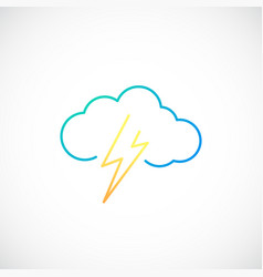 Simple weather icon with cloud with lightning vector