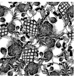 Skull pineapple in pencil seamless vector