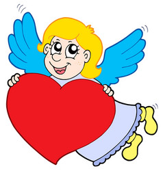 smiling cupid with heart vector image
