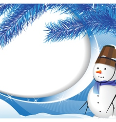 Snowman and spruce twig vector