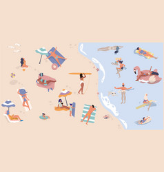 summer beach with people men and women doing vector image