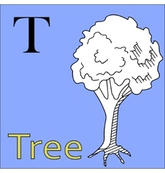 T letter alphabet Coloring book tree vector image