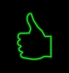 thumb up like neon sign bright glowing symbol on vector image