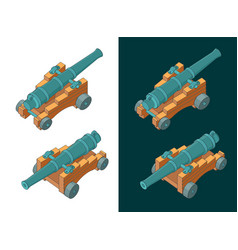 Vintage naval cannon isometric color drawings vector