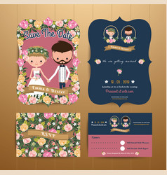 Vintage rustic blossom flowers cartoon couple vector