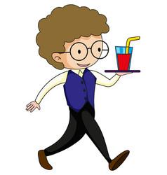 Waiter serving drink cartoon character vector
