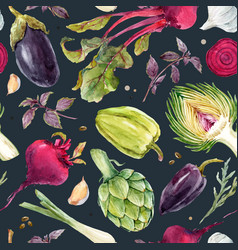 watercolor vegetable pattern vector image