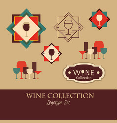 wine logotype collection made in style template vector image