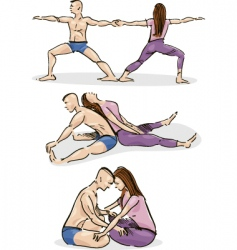 yoga in couple vector image