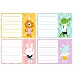 Cute note cards for kids vector image