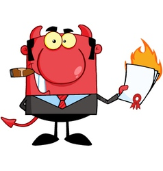 Devil Boss Holding A Flaming Bad Contract vector image vector image