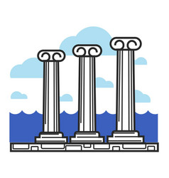 greek antique columns cyprus travel landmark vector image vector image