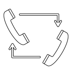 Handsets with arrows icon outline style vector image vector image