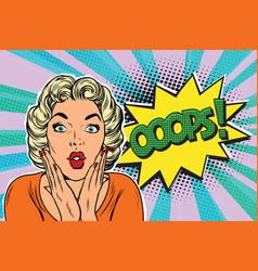 oops pop art blond woman vector image