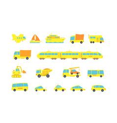 set yellow child transport variety machines cargo vector image