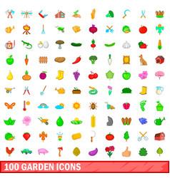 100 garden icons set cartoon style vector image