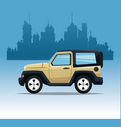 beige jeep sport city background vector image vector image