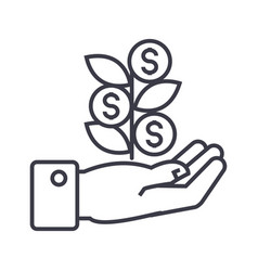 hand with money tree linear icon sign symbol vector image