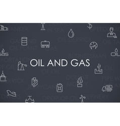 Oil and Gas Thin Line Icons vector image