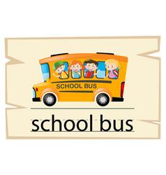 wordcard template for word school bus vector image