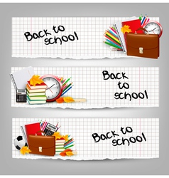 Back to school Three banners with school supplies vector image