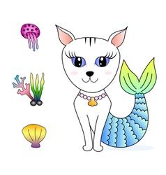 Cat face mermaid hand drawn doodle cartoon vector