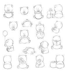 cute cartoon bears vector image vector image