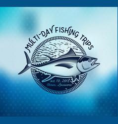 fishing labels badges emblems and design vector image