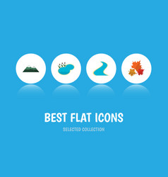 Flat icon bio set of pond peak canadian and vector