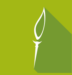 icon burning torch with a long shadow vector image