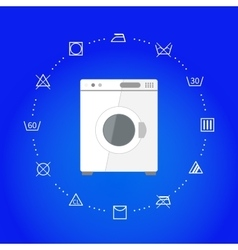 White wash machine with laundry icons on blue vector image