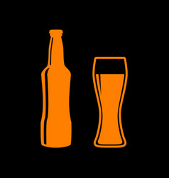 beer bottle sign orange icon on black background vector image vector image