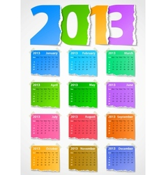 Calendar 2013 colorful torn paper vector image vector image