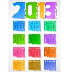 Calendar 2013 colorful torn paper vector image