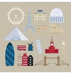 Flat cartoon style historic sight european vector image