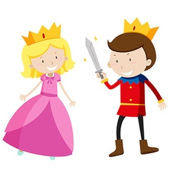 Prince and princess looking happy vector image