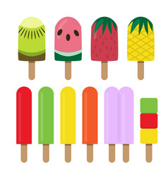 set of fruit ice cream bar in flat style vector image