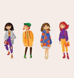 set with lovely hand drawn girls in casual vector image vector image