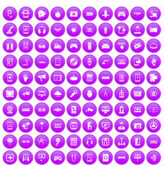 100 gadget icons set purple vector image