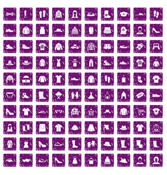 100 rags icons set grunge purple vector
